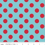 Dots Medium C360-04 Aqua Red by Riley Blake