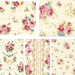 Elegant Roses 4 Fat Quarter Set in Cream by Kilala