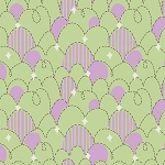 Feather N Stitch 110.101.04.3 Green Purple Stitched Eggs by Blend EOB