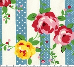 Flower Sugar 9924L Blue Floral Stripe by Lecien EOB FQ