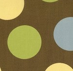 Freebird 33247-17 Yellow, blue and green dots on brown by MoMo for  Moda EOB