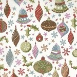 Fruitcake 30221-11  ornaments on white by Moda EOB