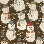 Fruitcake 30222-19 snowmen on brown by Moda EOB