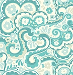 Garden District Sateen SAHB001 Aquamarine Cakewalk by Heather Bailey