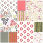 Glitz Garden 9 Fat Quarter Set in Coin by Michael Miller