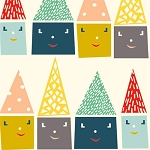 Happy Town Organic EI-20 Happy Houses by Birch Fabrics