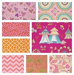Haute Girls 8 Fat Quarter Set in Pink by Dena Fishbein for Free Spirit