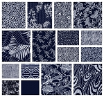 Indigo Blues 16 Fat Quarter Set by Henry Glass