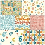 Ipanema Organic Girl 7 Fat Quarter Set by Dennis Bennett for Birch