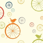 Just for Fun Organic Multi Birdie Spokes by Birch Fabrics