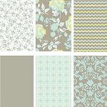Kensington 6 Fat Quarter Set in Grey by Riley Blake