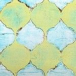 Lantern Bloom DC3723 Tile Mosaic Aqua by Laura Gunn EOB