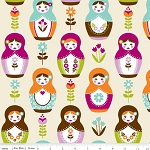 Little Matryoshka C3310-Cream Matryoshka Dolls by Riley Blake