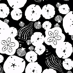 Low Tide 7551-K Black & White Sand Dollars by Jane Dixon for Andover