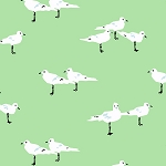 Low Tide 7554-G Birds on Green by Jane Dixon for Andover