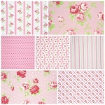 Lulu Roses 7 Fat Quarter Set in Pink by Tanya Whelan for Free Spirit