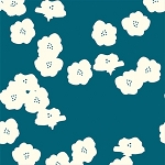 Mod Basics Organic MB2-03 Teal Poppies by Birch Fabrics EOB