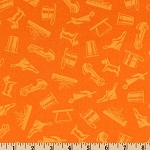 Monopoly 21012 Orange Tonal Game Pieces by Quilting Treasures EOB