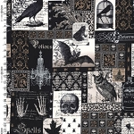 Nevermore DC5522 Black Nevermore Collage by Michael Miller EOB