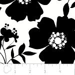 Opposites Attract 4141301-2 Black on White Big Floral by Camelot