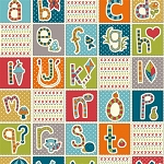 Picnic Whimsy Organic RG-33 ABC Patchwork Panel by Birch Fabrics