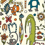 Picnic Whimsy Organic RG-26 Alphabet Soup by Birch Fabrics