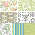 Priscilla 7 Fat Quarter Set in White by Lila Tueller for Riley Blake