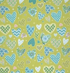 Haute Girls PWDF207 Aqua Hearts by Dena Fishbein for Free Spirit