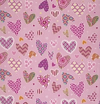 Haute Girls PWDF207 Pink Hearts by Dena Fishbein for Free Spirit