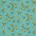 Acacia PWTP039 Teal Butterfly Wings by Free Spirit EOB