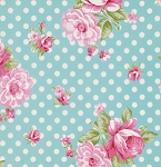Rosey PWTW061 Teal Roses & Mums by Tanya Whelan for Free Spirit