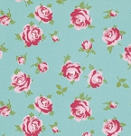 Rosey PWTW062 Teal Little Roses by Tanya Whelan for Free Spirit