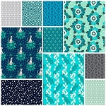 Rhoda Ruth 10 Fat Quarter Set in Nightfall by Robert Kaufman