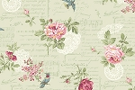 RURU Bouquet RU2200-14C Green Floral Script by Quilt Gate