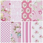 Sunshine Rose  8 Fat Quarter Set in Pink by Tanya Whelan