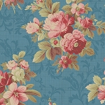 Bed of Roses 26255 Blue Lg Floral by Gerri Robinson for Red Rooster