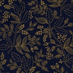 Les Fleurs 8005-03 Navy Queen Anne by Rifle Paper Co for Cotton + Steel