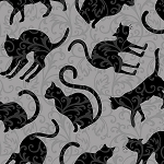 Spellbound 9908-90 Grey Cat Silhouettes by Henry Glass