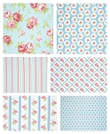 Lulu Roses 6 Fat Quarter Set in Sky by Tanya Whelan for Free Spirit