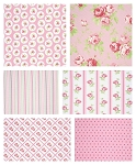 Lulu Roses 6 Fat Quarter Set in Pink by Tanya Whelan for Free Spirit