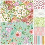 Meadow 7 Fat Quarter Set in Coral by Free Spirit