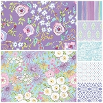 Meadow 7 Fat Quarter Set in Purple by Free Spirit