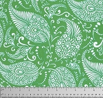 Merry Mistletoe PWDF233 Green Paisley by Free Spirit