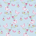 Zoey's Garden PWTW118 Blue Butterfly Floral by Free Spirit