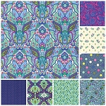 Slow and Steady 8 Fat Quarter Set in Blue Raspberry by Free Spirit