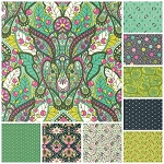 Slow and Steady 9 Fat Quarter Set in Strawberry Kiwi by Free Spirit