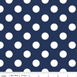 "Medium Dot Wideback 108"" WB360-21 Navy by Riley Blake"