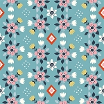 Wildland Organic MI-08 Blue Flowerbed by Miriam Bos for Birch
