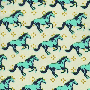 Mustang 0003-002 Aqua Mustang by Melody Miller for Cotton + Steel