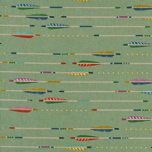 Mustang 0009-012 Mint Arrows Cotton/Linen Canvas by Cotton + Steel